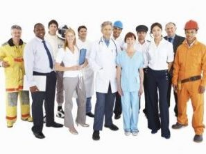 Portrait of people from different professions standing together on white